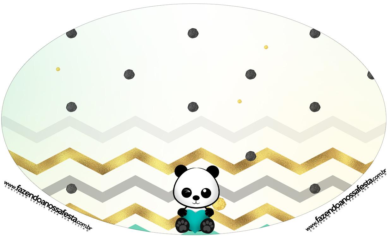 Placa Elipse Panda Menino