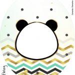 Rotulo Tubete Oval Panda Menino kit festa