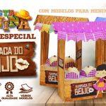 Caixa Barraca do Beijo para Festa Junina Molde Grátis Imprima em Casa