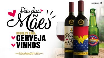 Rotulo Cerveja e Vinho para Dia das Maes Modelo
