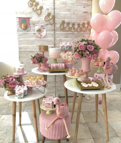 4 decoracao mini table flamingo