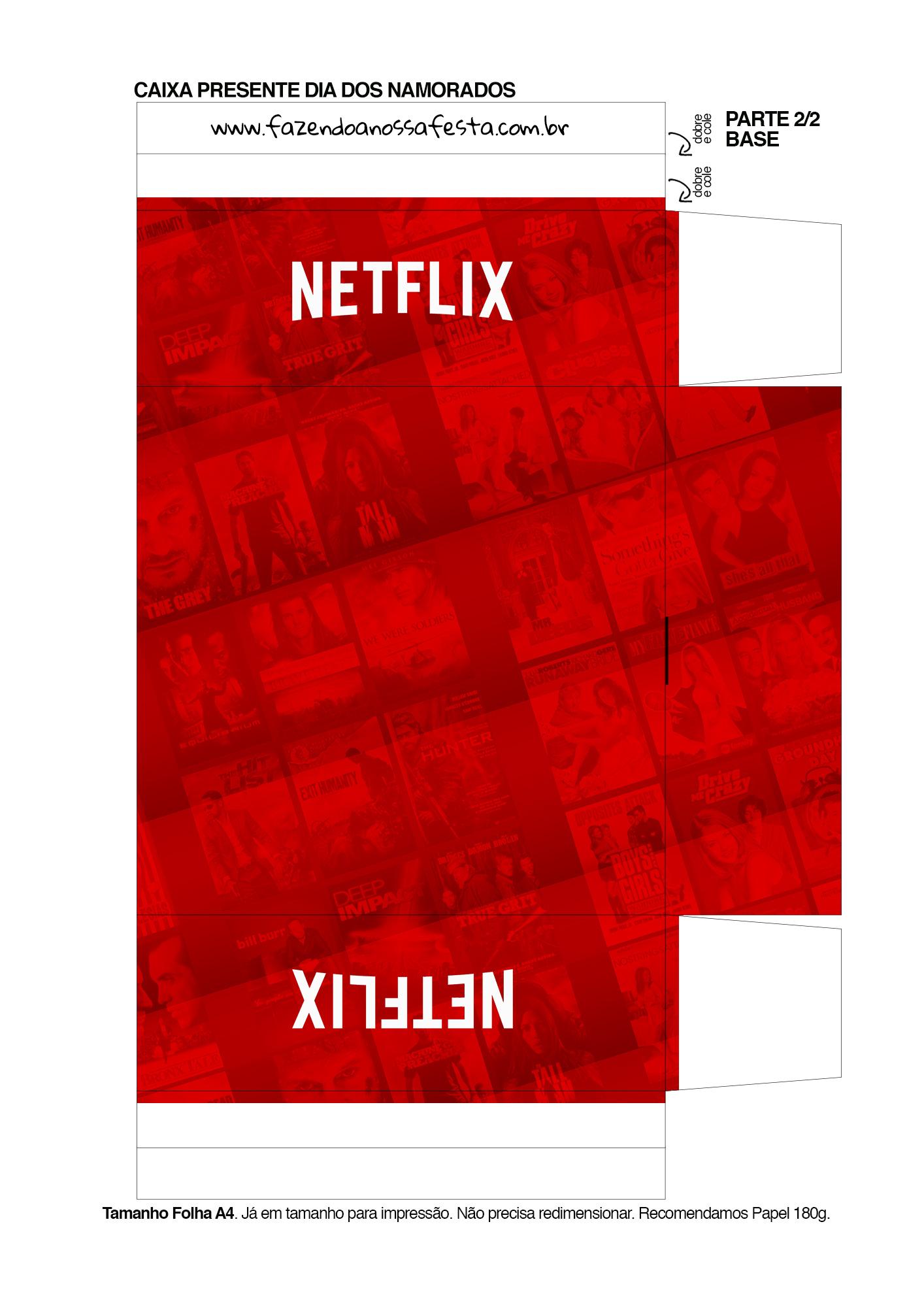 Caixa Dia dos Namorados com Letras de Musicas e Temas Netflix