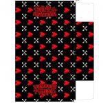 Caixa Dia dos Namorados com Letras de Musicas e Temas amor daqui ate a eternidade preto e vermelho