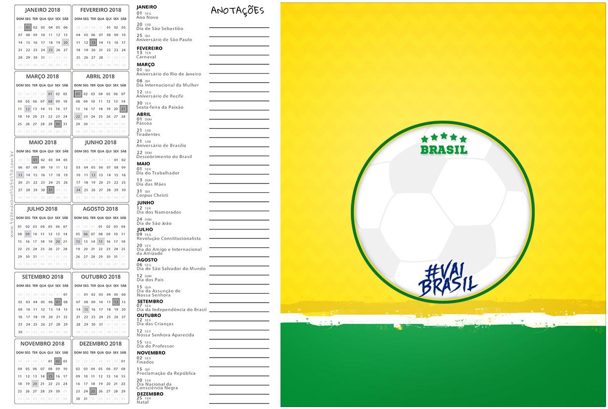 Calendario 2017 2 Copa do Mundo Kit Festa