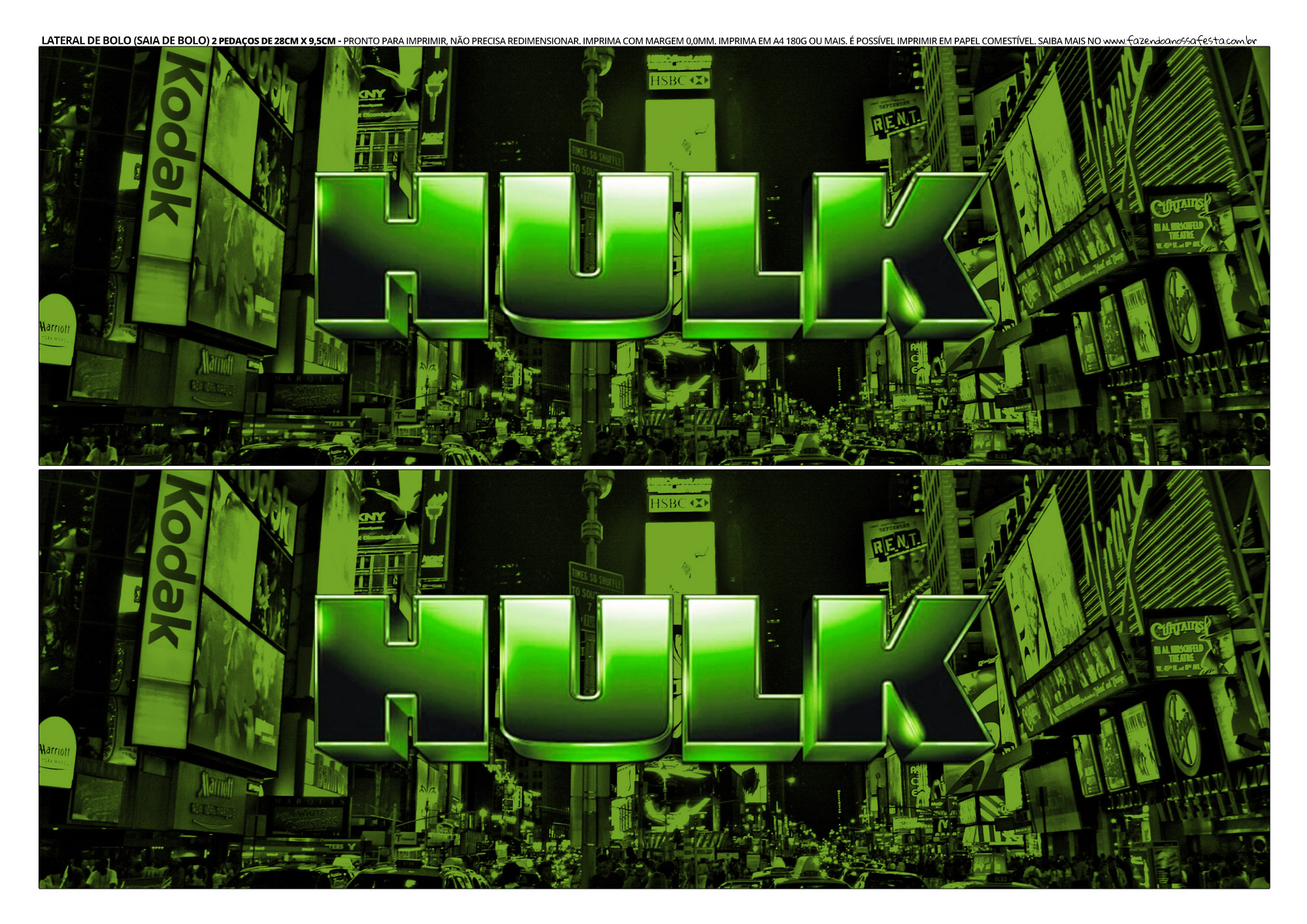 Faixa Lateral para Bolo Hulk 4