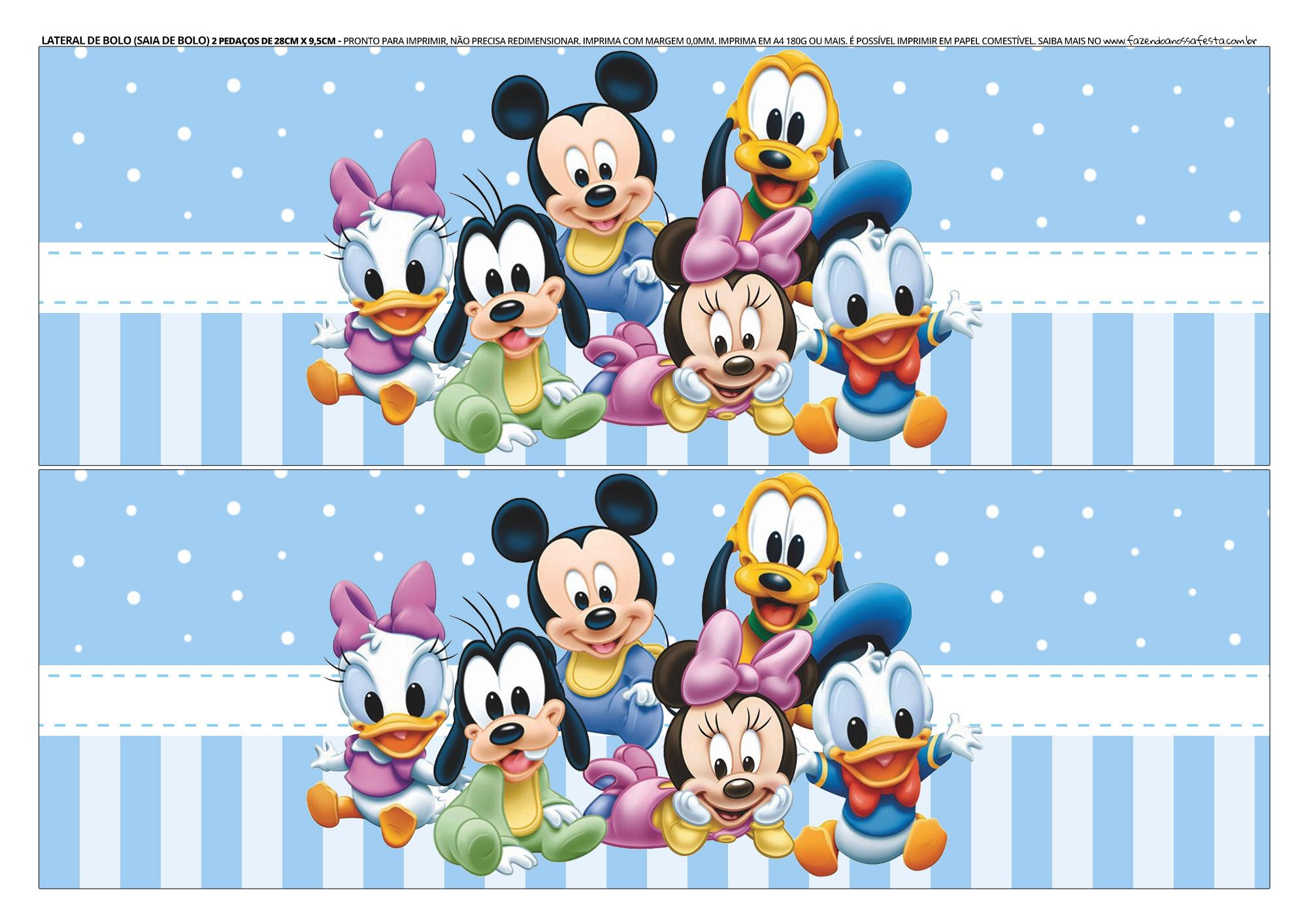 Faixa Lateral para bolo Mickey Baby 2