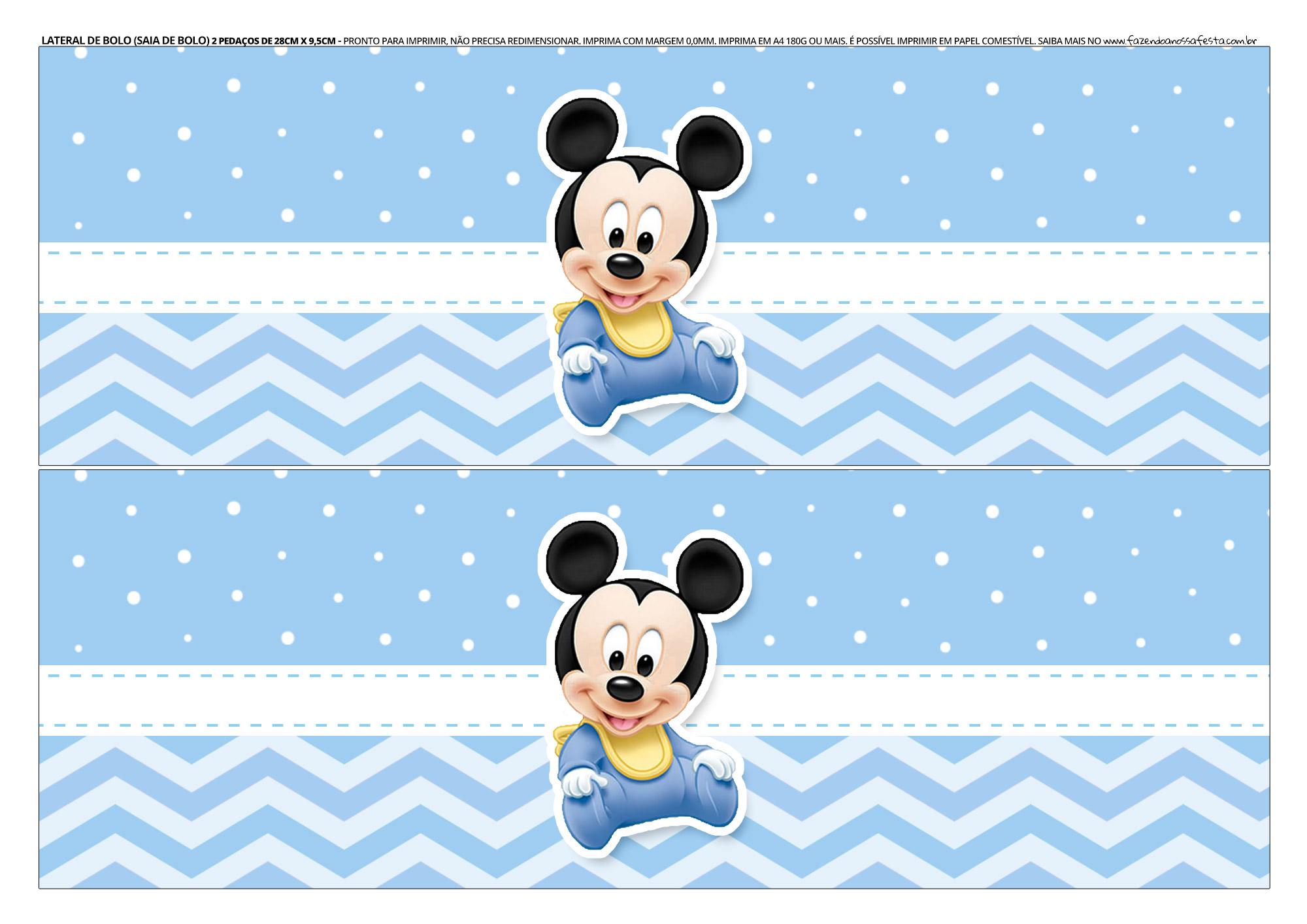 Faixa Lateral para bolo Mickey Baby 3