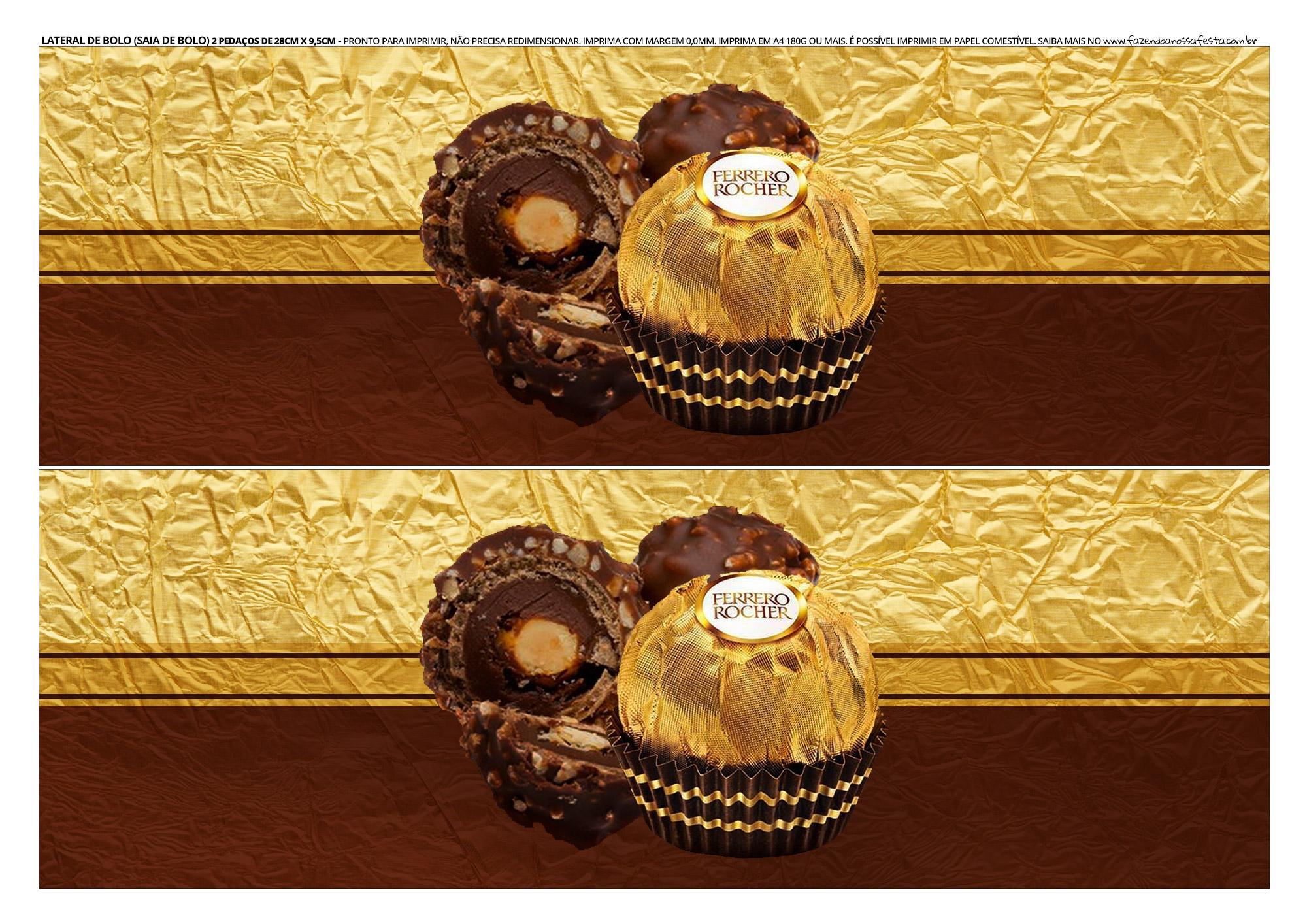 Faixa lateral de bolo Dia dos Namorados Ferrero Rocher