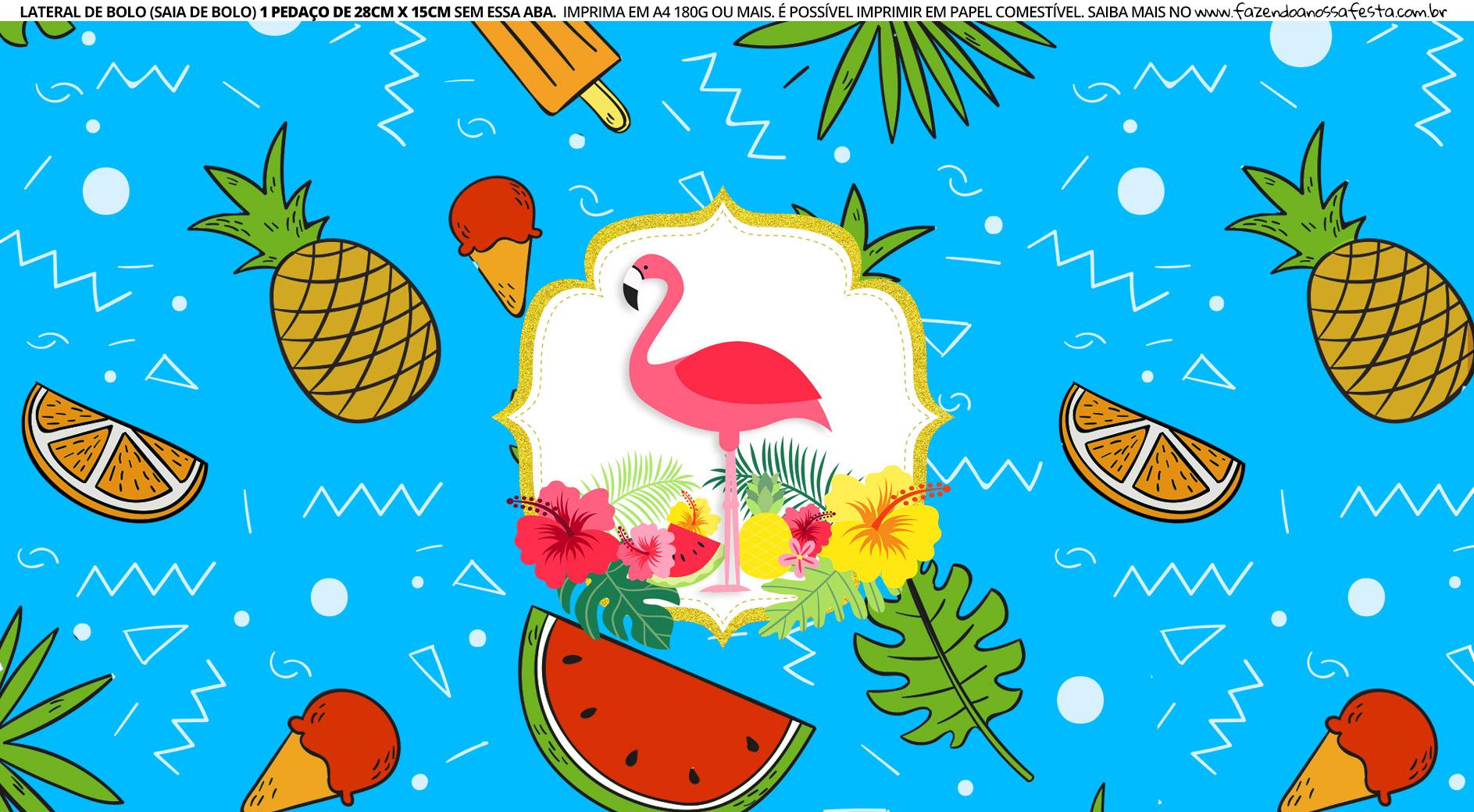 Faixa lateral de bolo Flamingo Azul