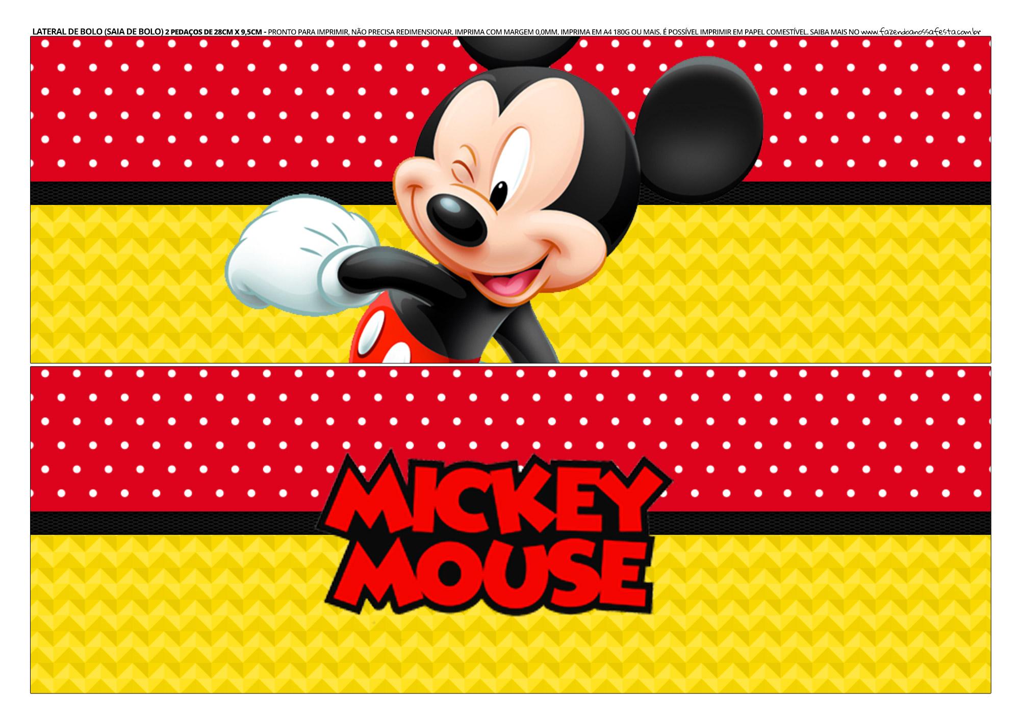 Faixa lateral de bolo Mickey Mouse