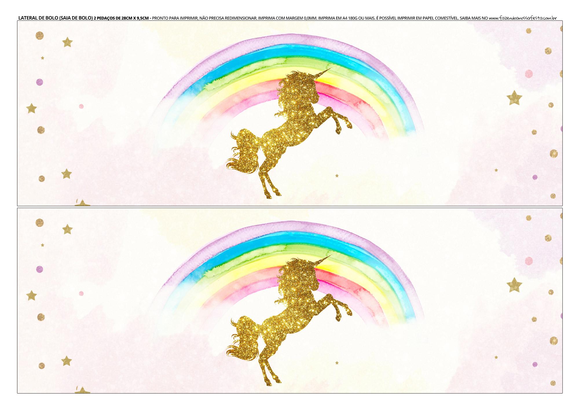 Faixa lateral de bolo Unicornio