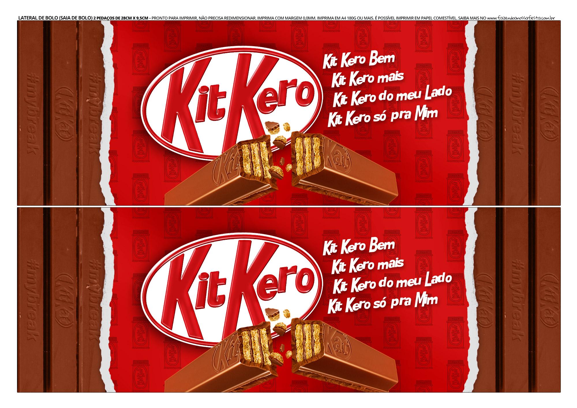 Faixa lateral para bolo Dia dos Namorados Kit Kat