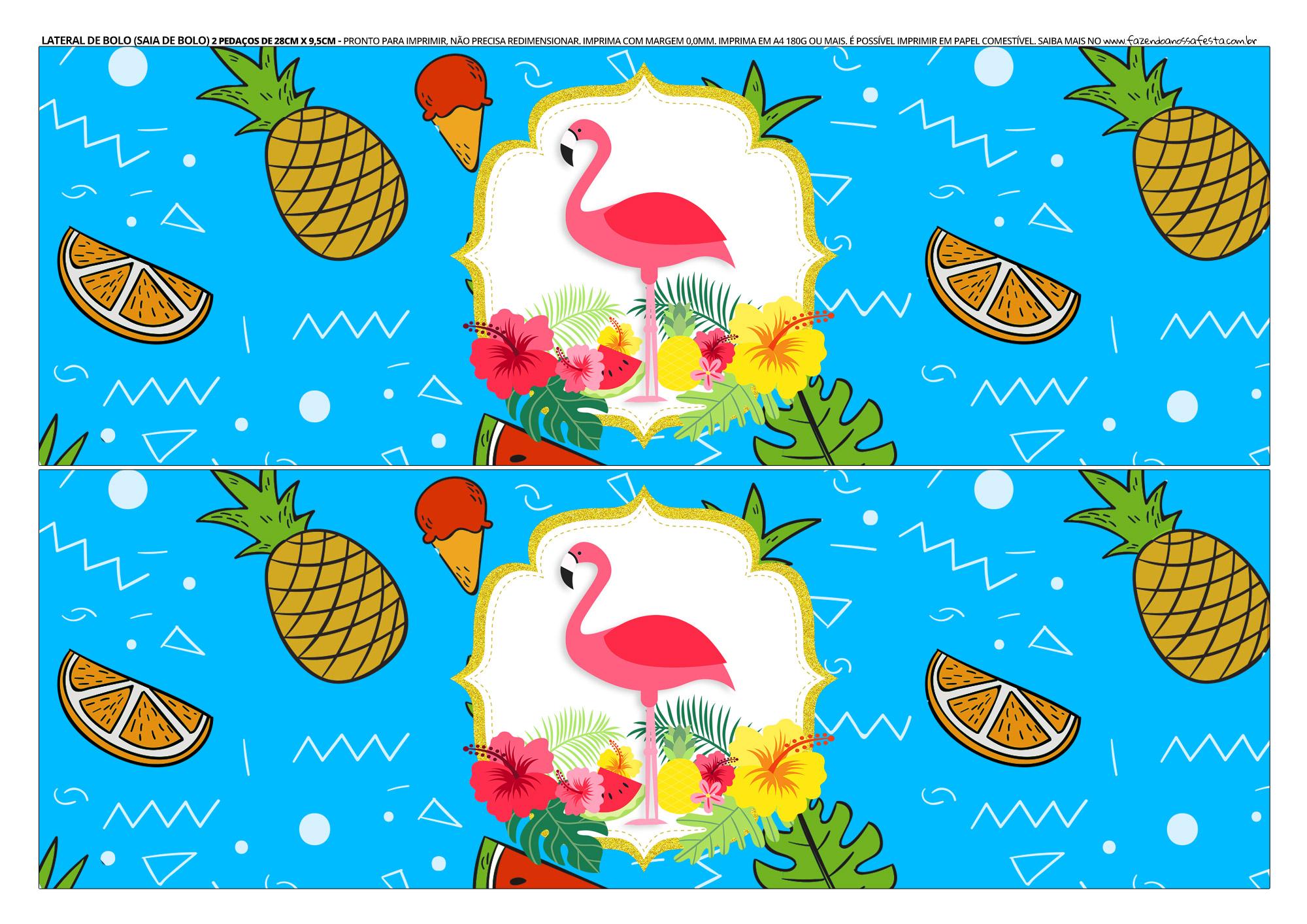 Faixa lateral para bolo Flamingo
