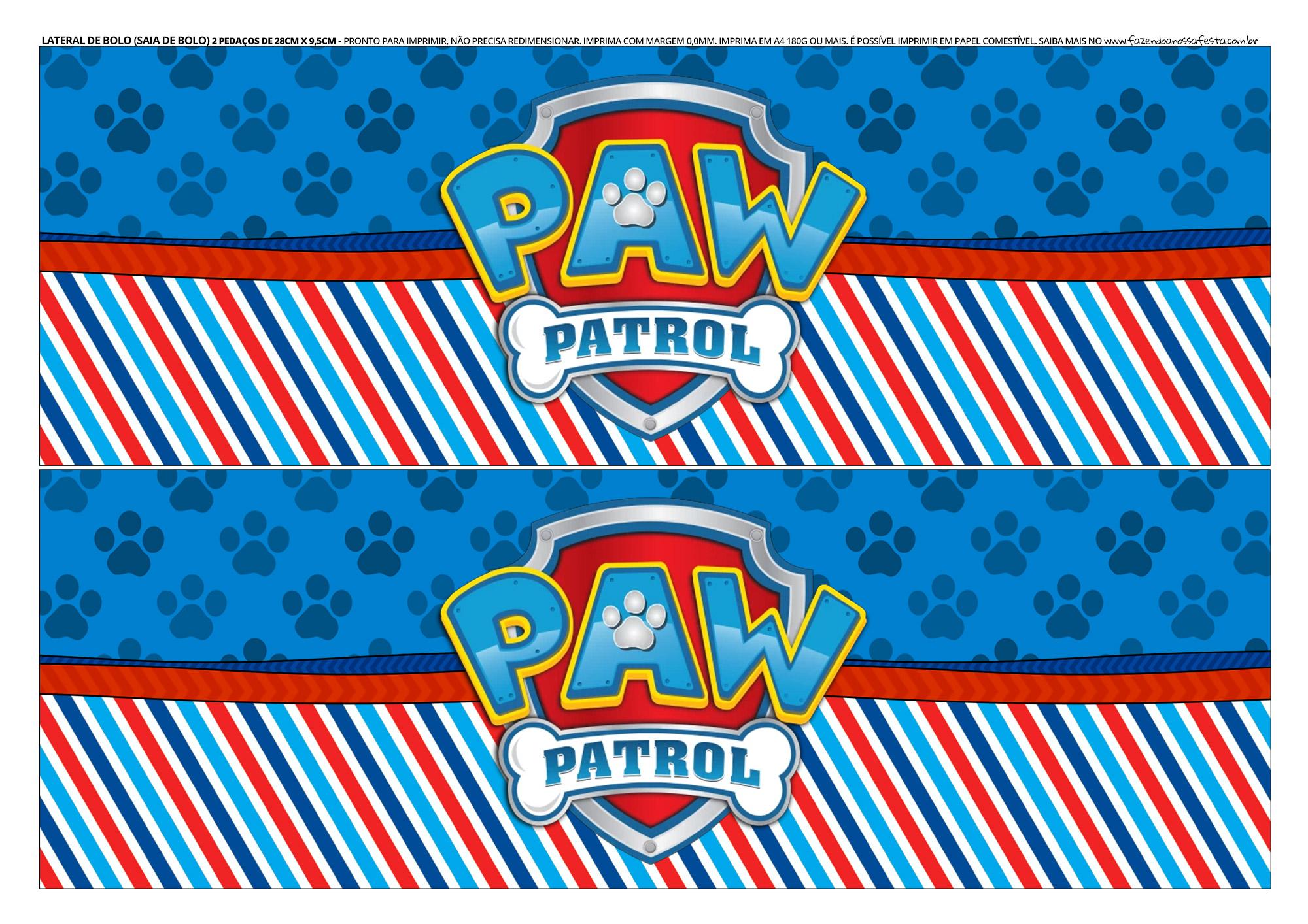 Faixa Lateral de Bolo Patrulha Canina 4
