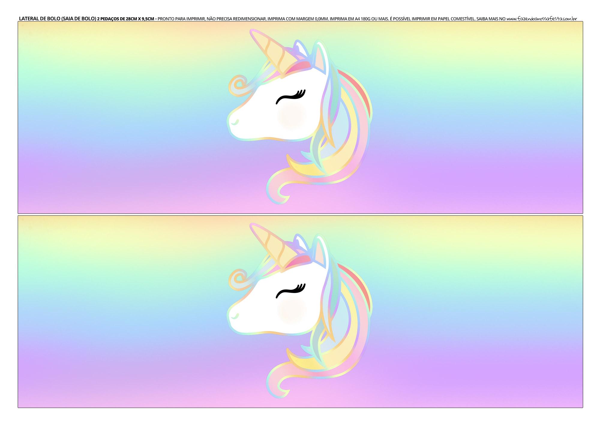 Faixa lateral para bolo Unicornio 11