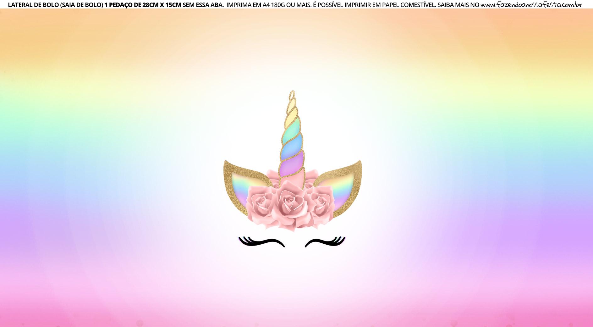 Faixa lateral para bolo Unicornio 12