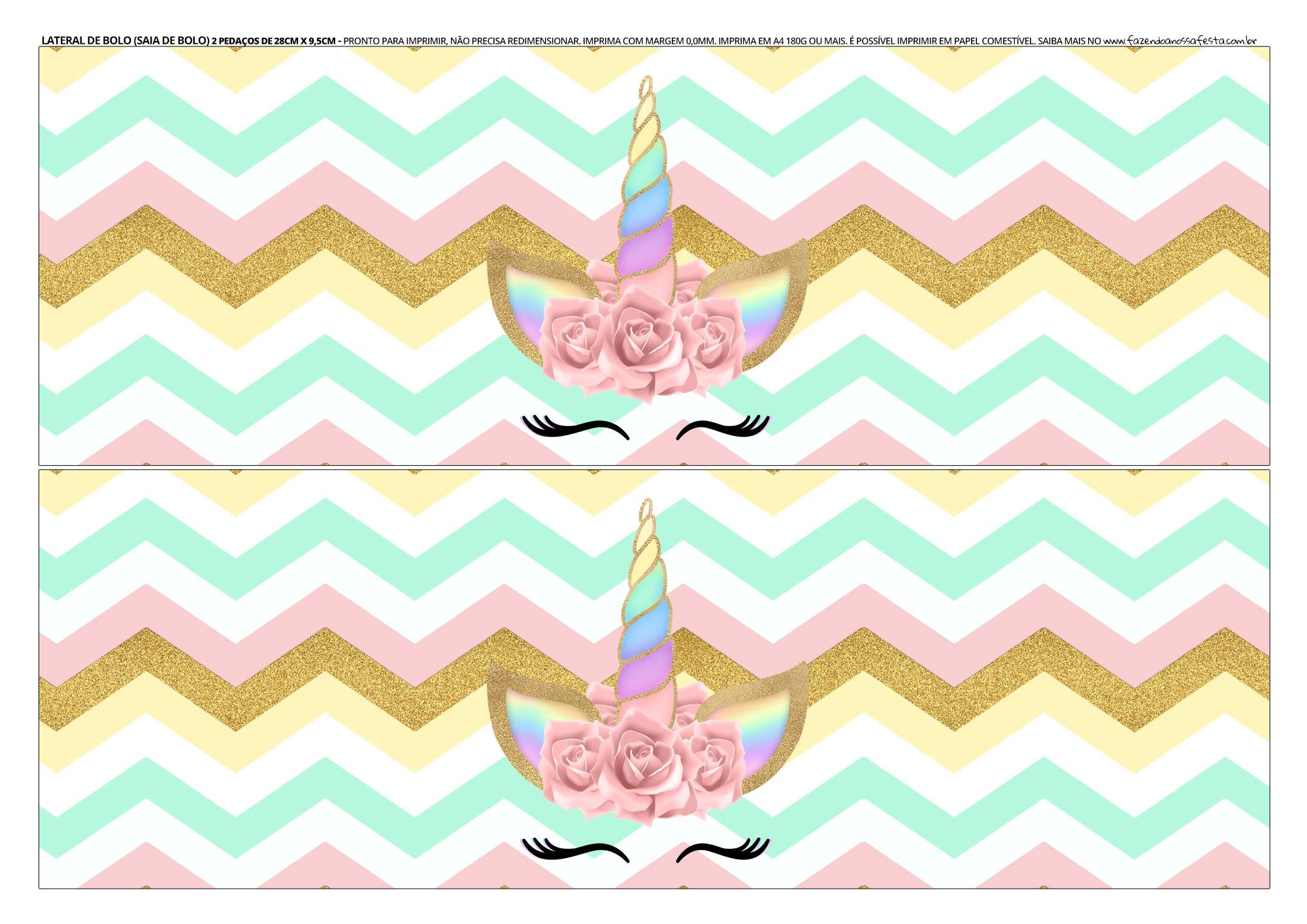 Faixa lateral para bolo Unicornio 3