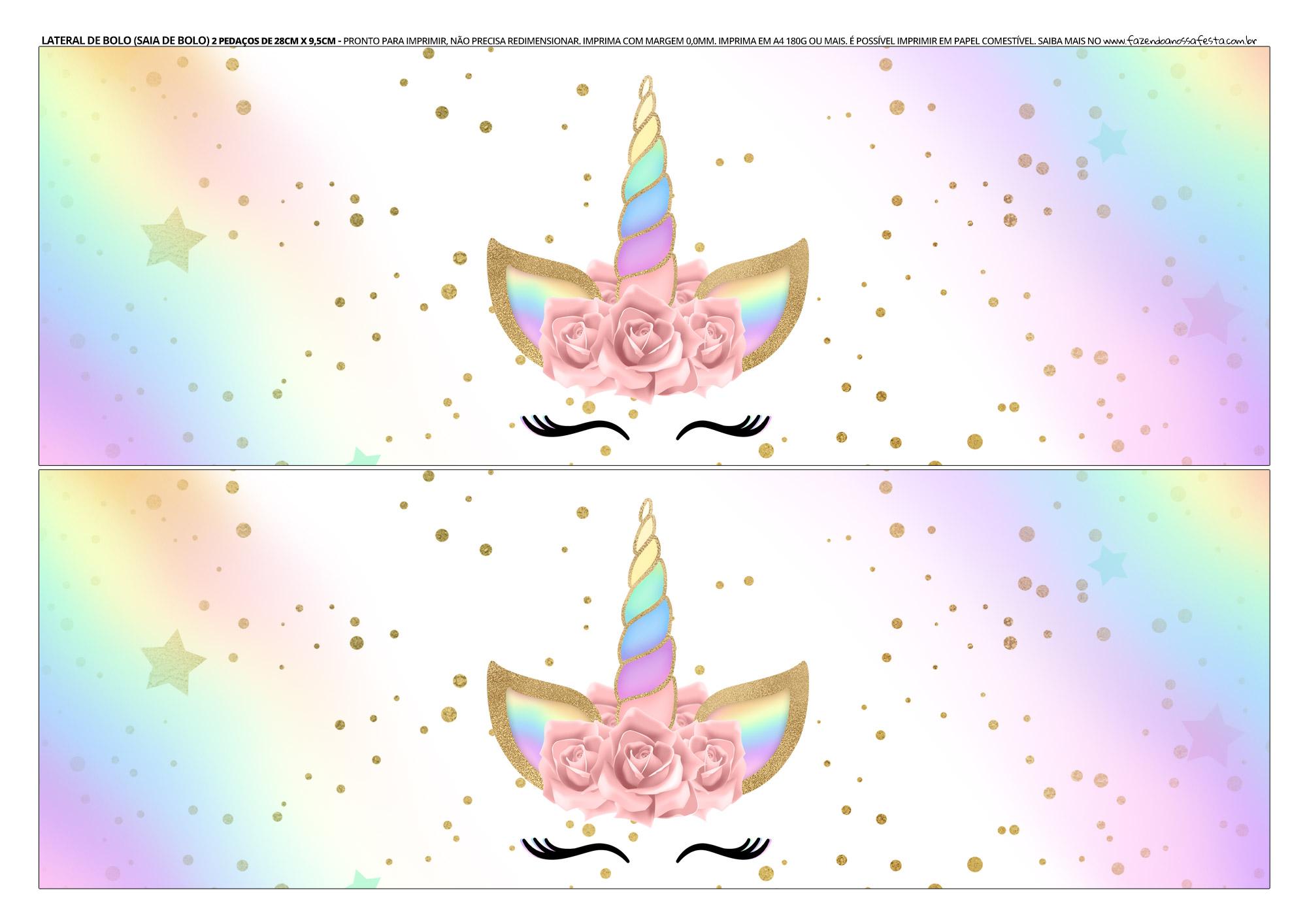 Faixa lateral para bolo Unicornio 6