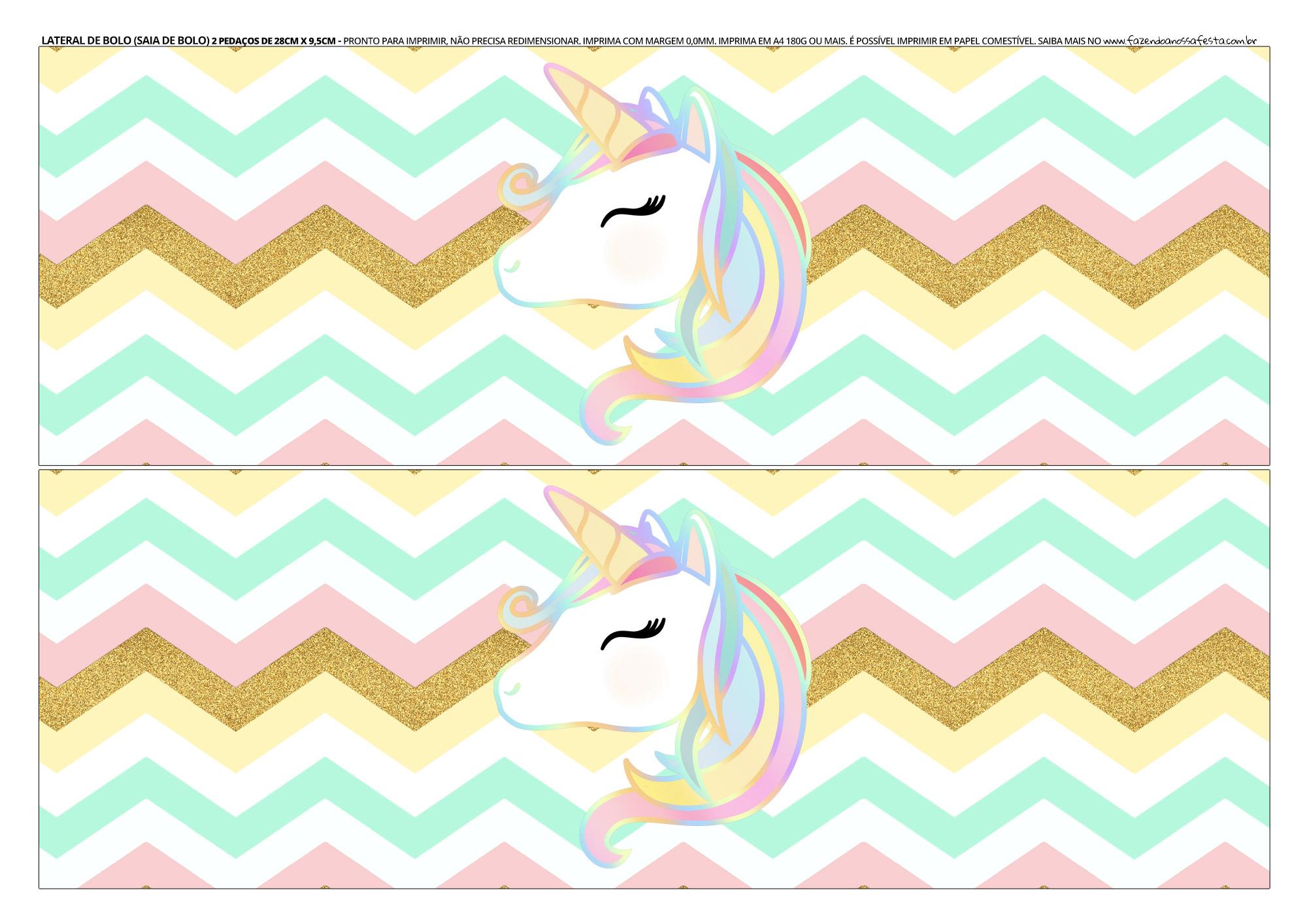 Faixa lateral para bolo Unicornio 7