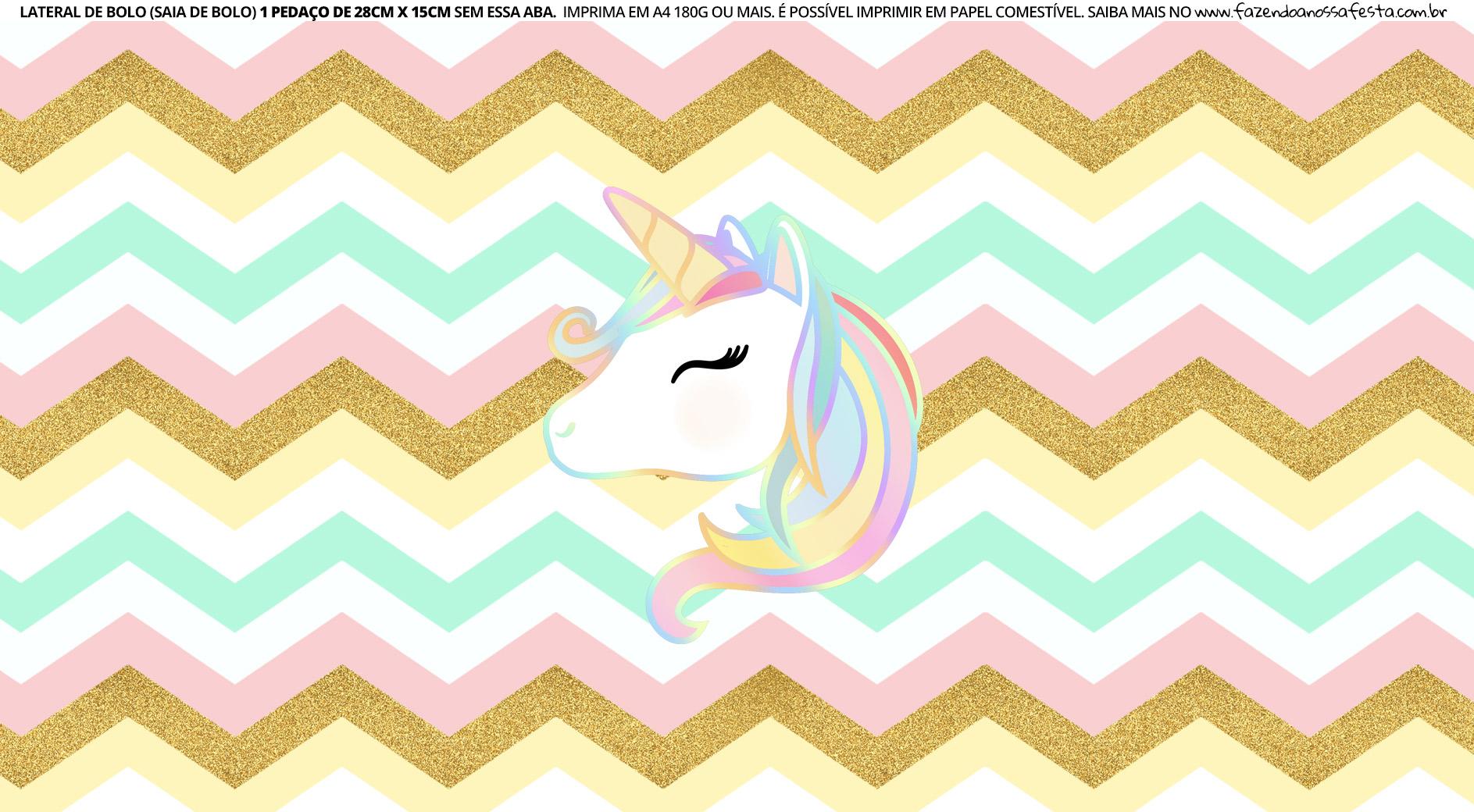 Faixa lateral para bolo Unicornio 8