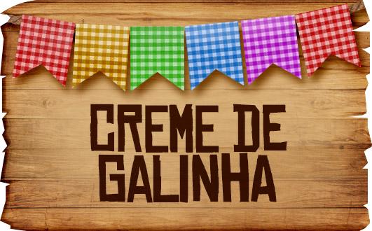 Plaquinhas de Comida para Festa Junina Creme de Galinha
