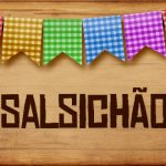 Plaquinha de Comida para Festa Junina Salsichao