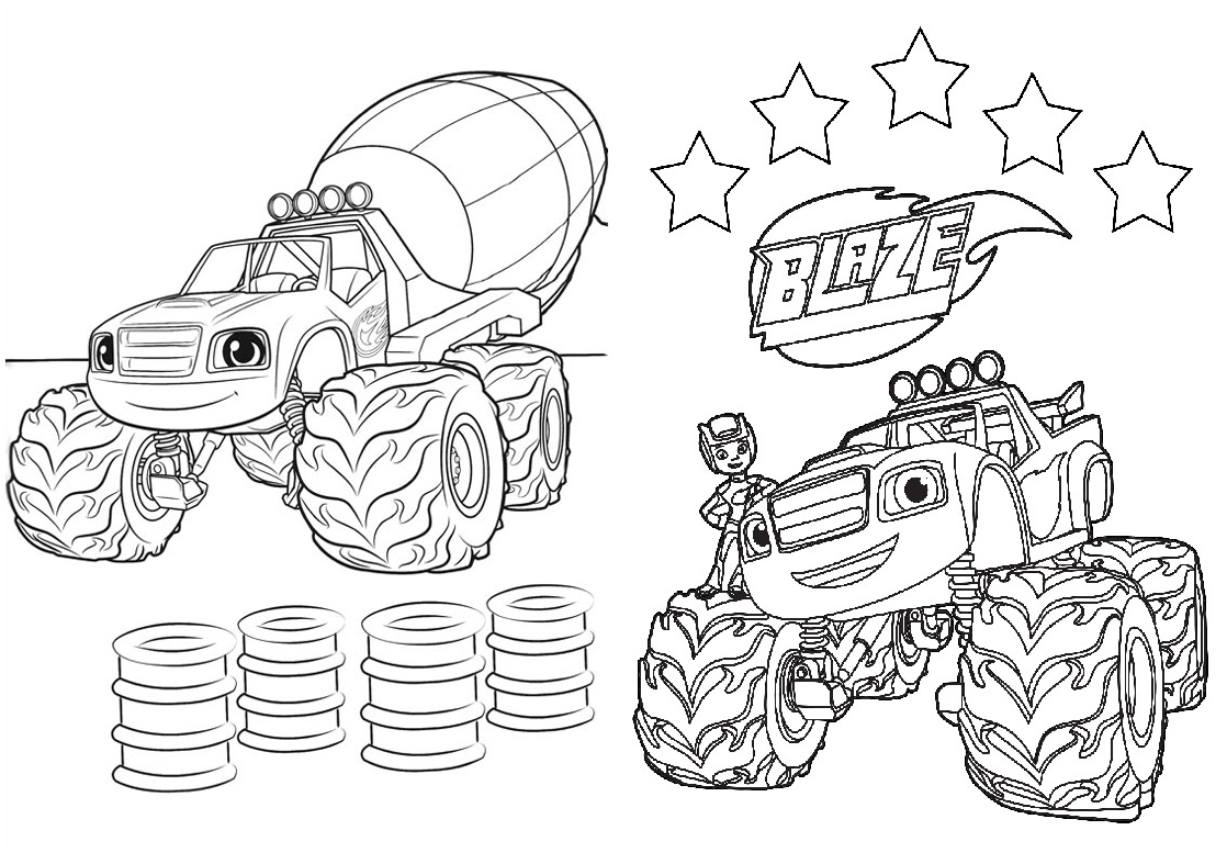 1 Revistinha para colorir Blaze and the monster machines 2