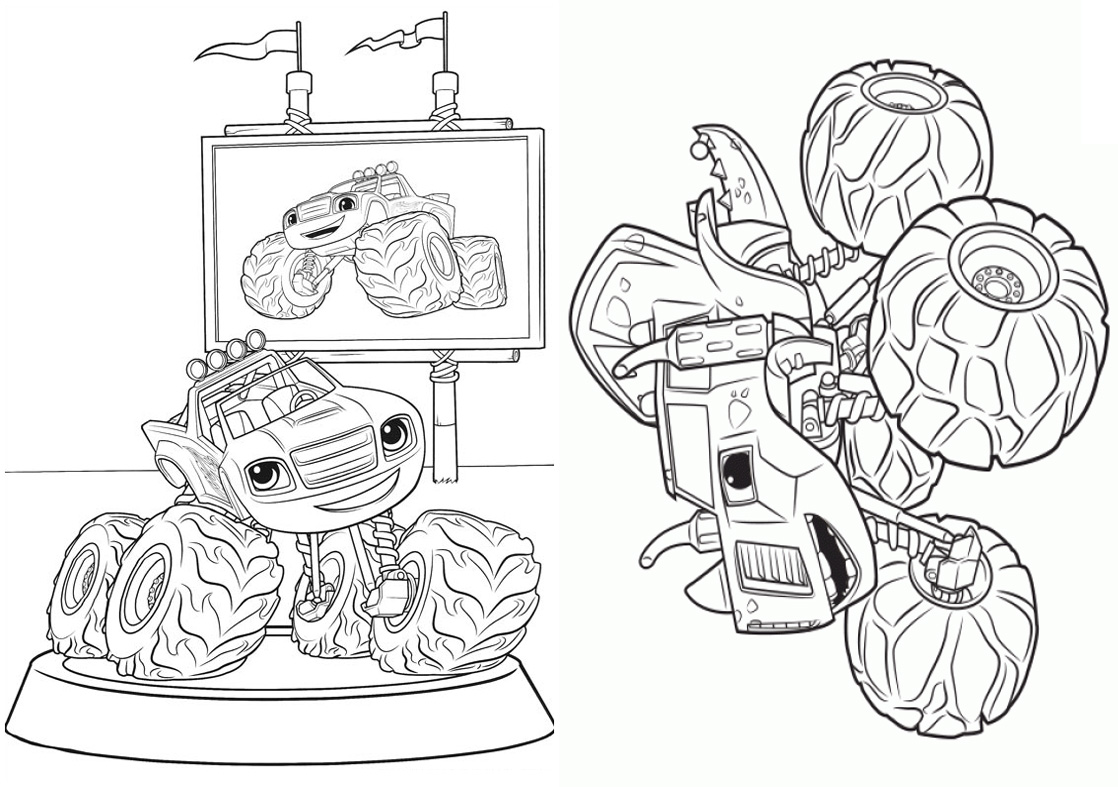 5 Revistinha para colorir Blaze and the monster machines 2