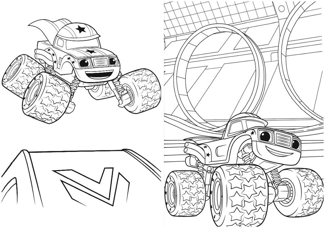 7 Revistinha para colorir Blaze and the monster machines 2