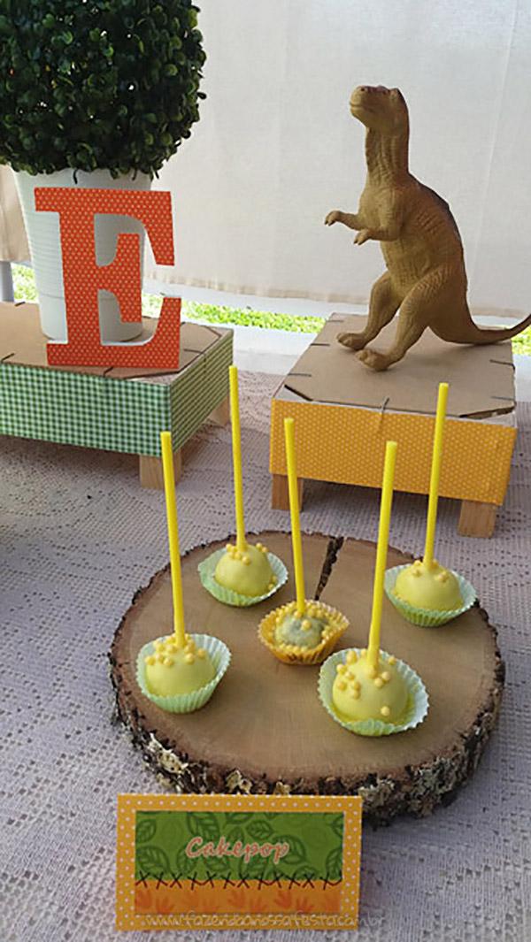 Cakepop Festa Dinossauro do Eduardo