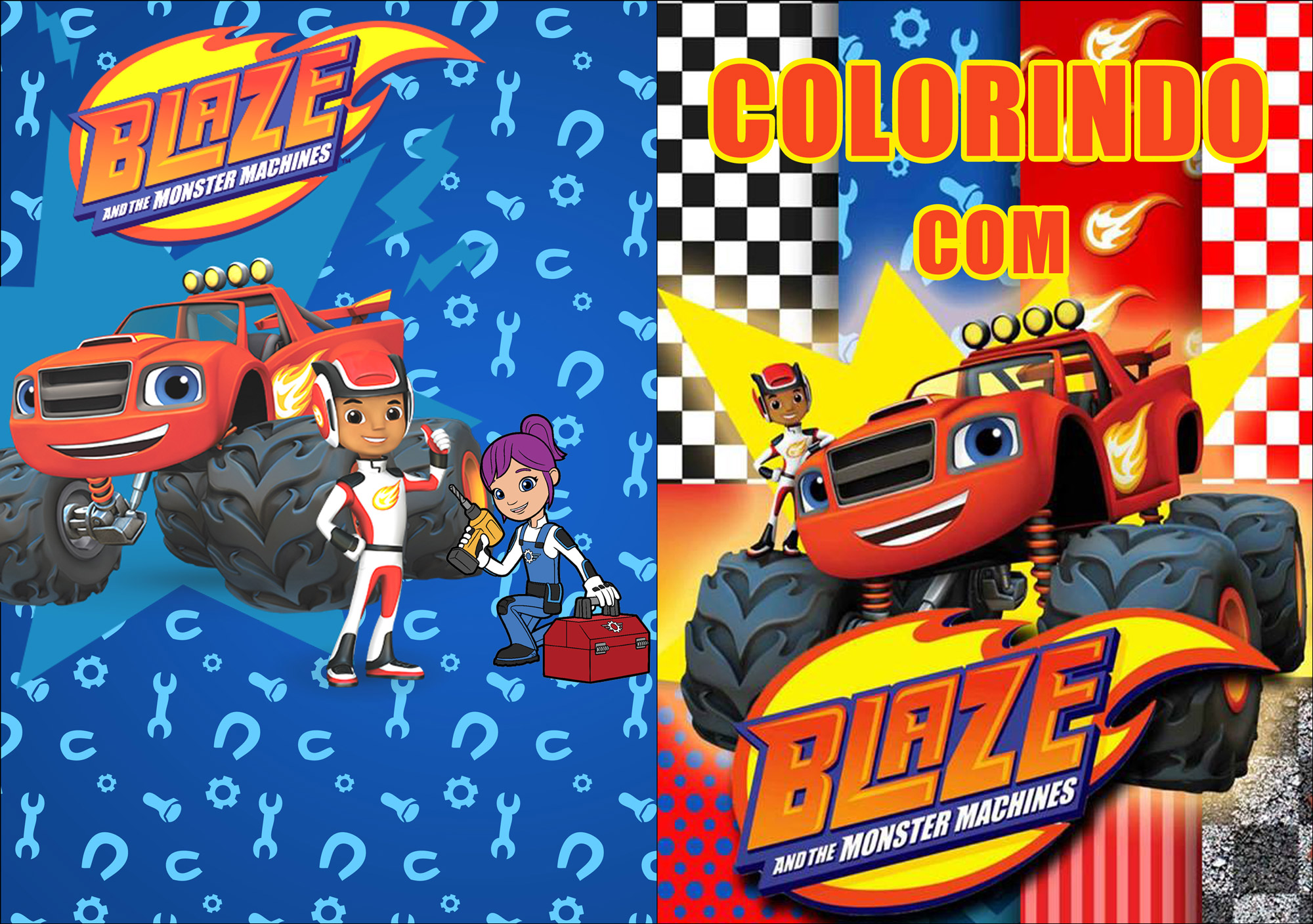 Capa Revistinha para colorir Blaze and the monster machines 2