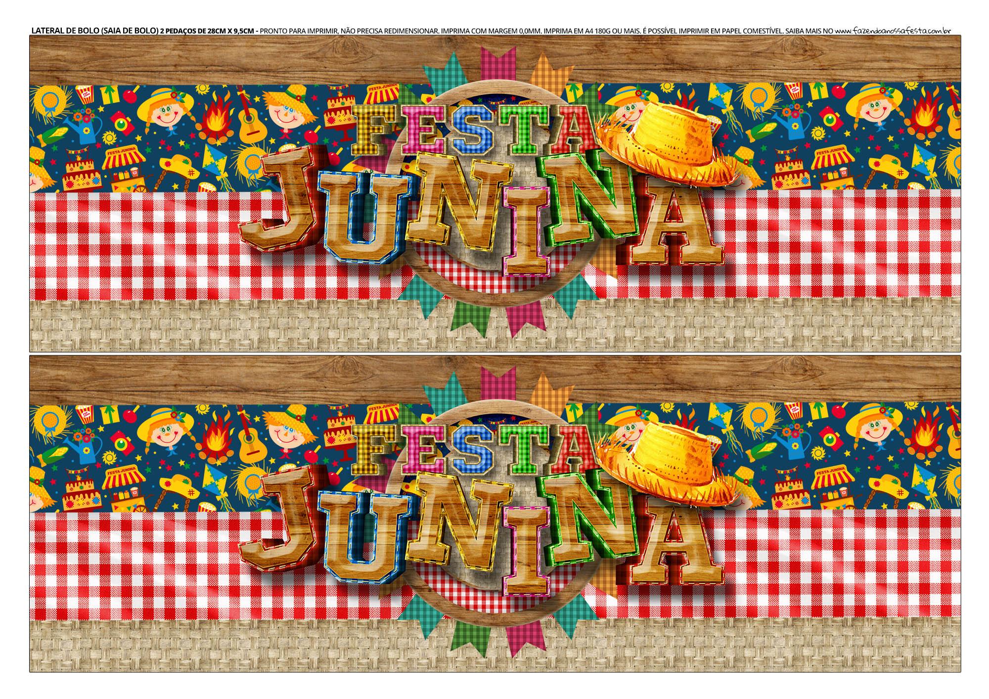 Faixa Lateral de Bolo Festa Junina 4 06 Topo de bolo e Faixa Lateral para Festa Junina