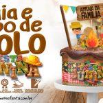 Topo de bolo e Faixa Lateral para Festa Junina Grátis para Imprimir
