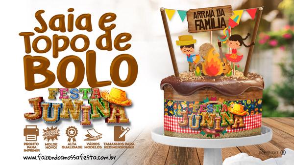 Topo de bolo e Faixa Lateral para Festa Junina