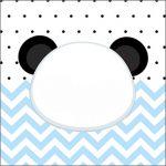 Adesivo Acrilico Quadrado Panda Azul Personalizados para Festa