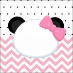 Adesivo Acrilico Quadrado Panda Rosa Personalizados para Festa