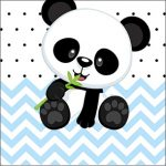 Adesivo Caixa Acrilico Panda Azul Personalizados para Festa