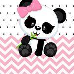 Adesivo Caixa Acrilico Panda Rosa Personalizados para Festa