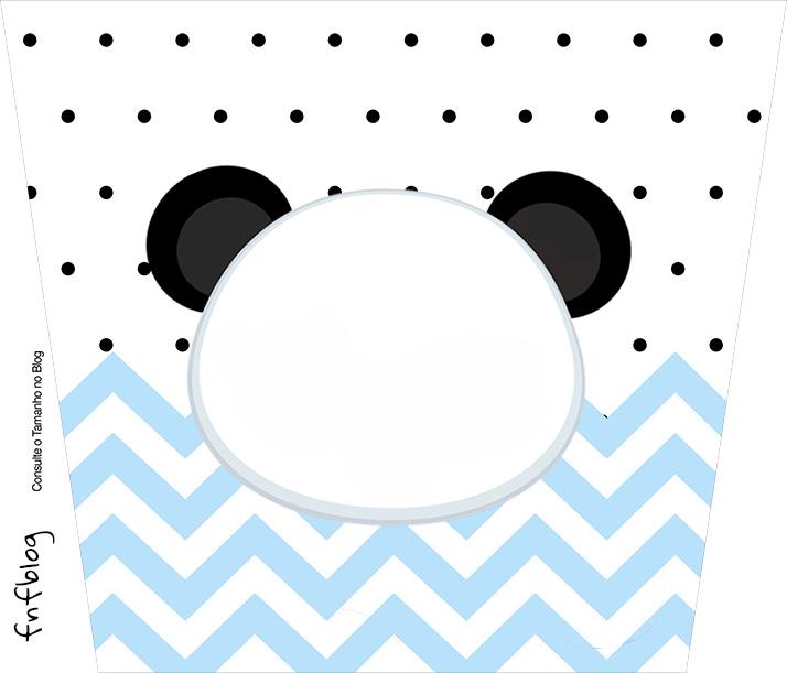 Balde de Pipoca Panda Azul Personalizados para Festa