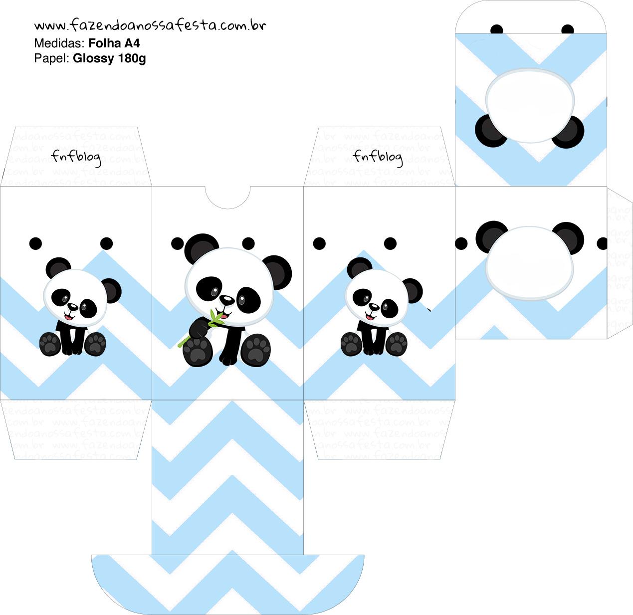 Baleiro Panda Azul Personalizados para Festa