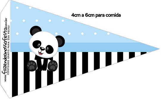 Bandeirinha Sanduiche 1 Panda Azul Kit Festa