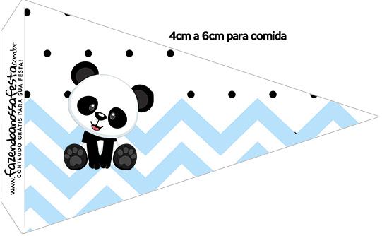 Bandeirinha Sanduiche 1 Panda Azul Personalizados para Festa
