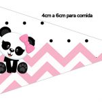 Bandeirinha Sanduiche 1 Panda Rosa Personalizados para Festa