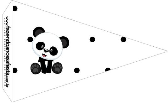 Bandeirinha Sanduiche 2 Panda Azul Personalizados para Festa
