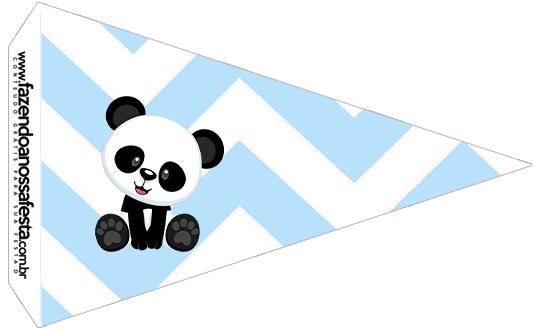 Bandeirinha Sanduiche 3 Panda Azul Personalizados para Festa