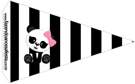 Bandeirinha Sanduiche 3 Panda Rosa