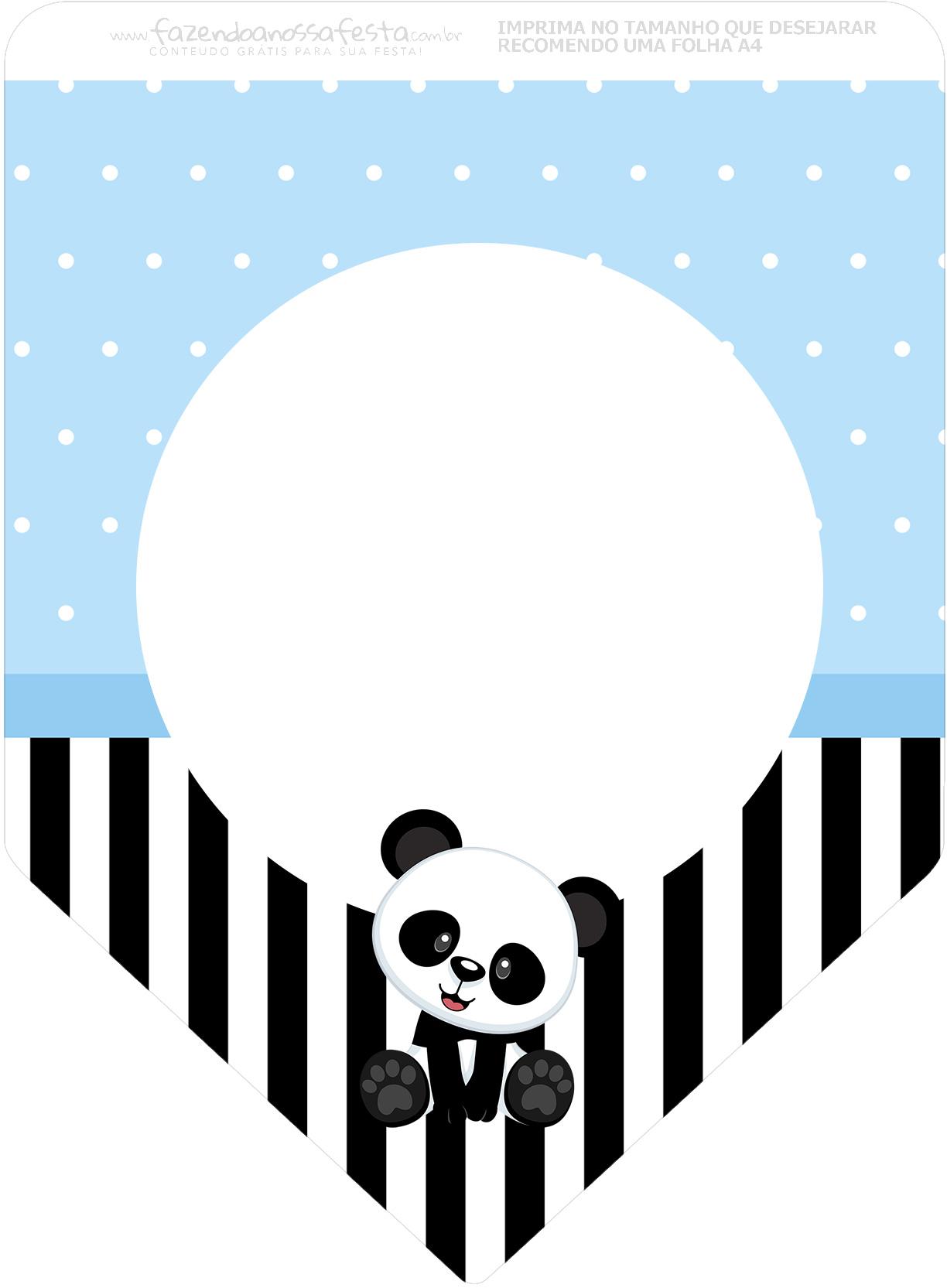 Bandeirinha Varalzinho 3 Panda Azul Kit Festa