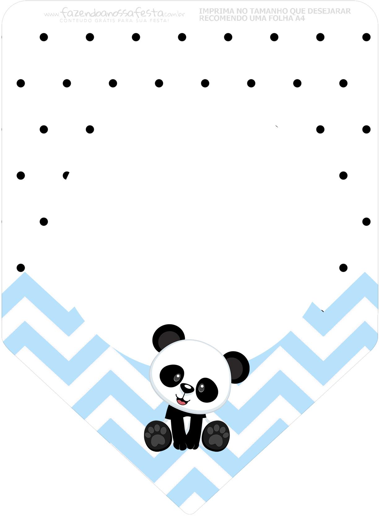 Bandeirinha Varalzinho 3 Panda Azul Personalizados para Festa