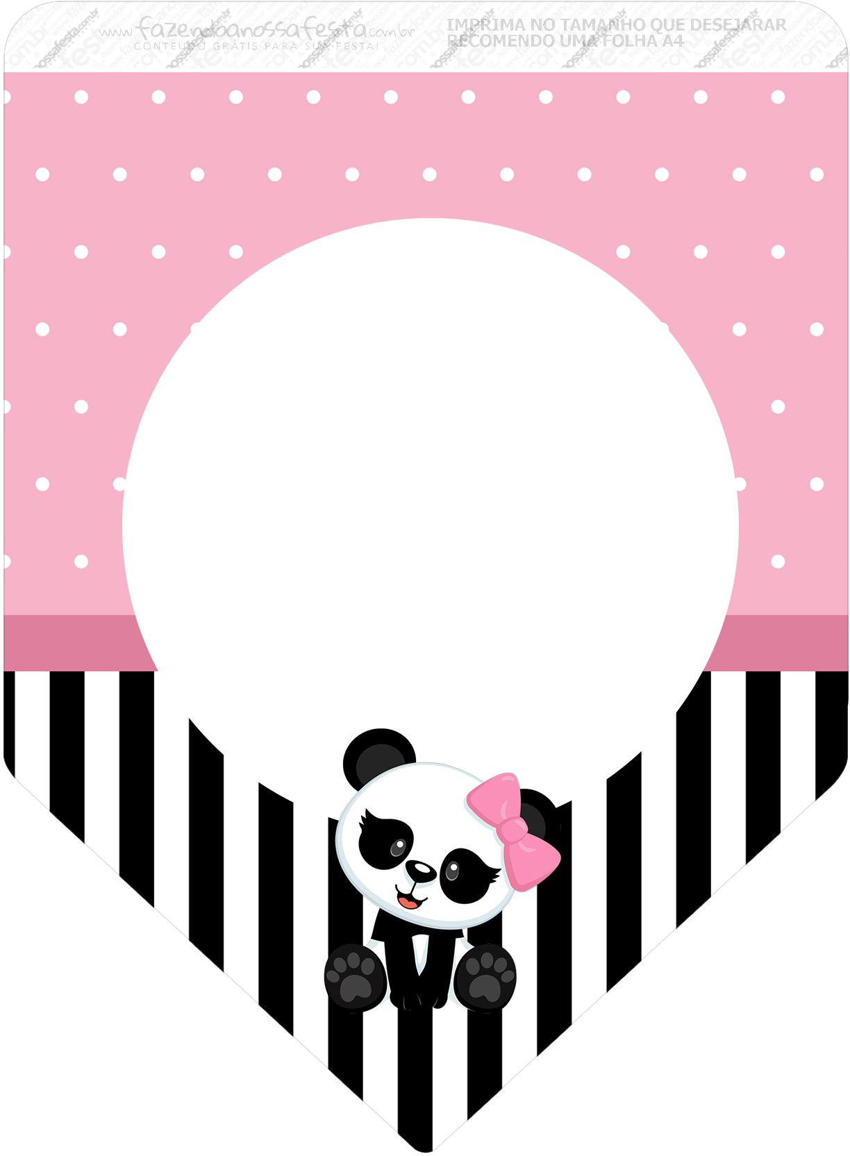 Bandeirinha Varalzinho 3 Panda Rosa