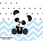 Bandeirinha Varalzinho Panda Azul Personalizados para Festa